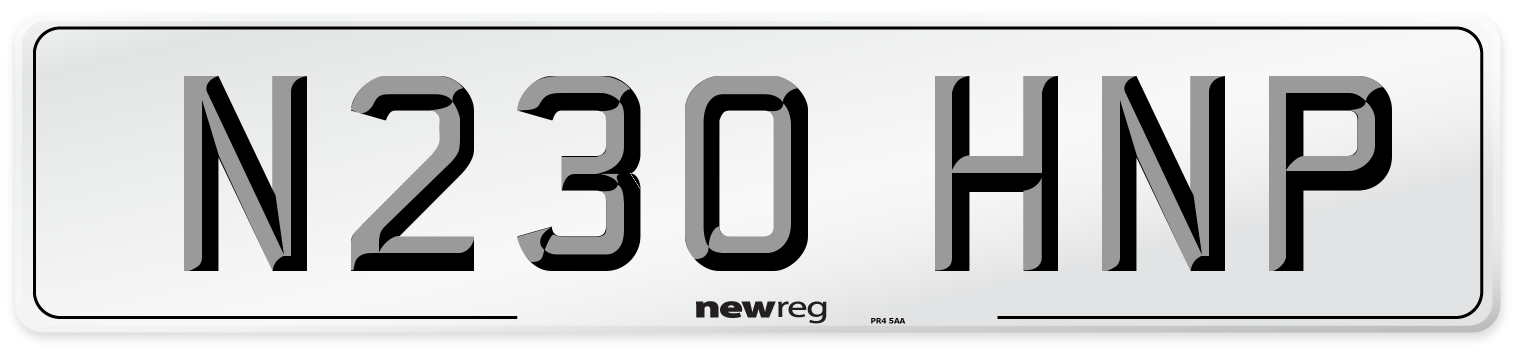 N230 HNP Number Plate from New Reg